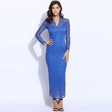 Dress Long Lace Sexy Long Sleeve Deep V-neck Autumn Solid Lace Dress