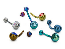 "14g Internal 7/16"" Double Jeweled Titanium Belly Button Ring"