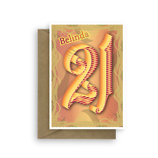 21st Happy Birthday card for boy or girl 21 typography blank inside son daughter