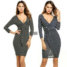 Women Fashion Sexy Slim V Neck 3/4 Sleeve Polka Dot Short Jersey Dress KECP01