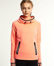 New Womens Superdry Gym Tech Cowl Hoodie Fluro Coral Grit