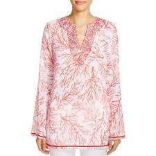 MICHAEL Michael Kors Womens Solana Printed Embroidered Tunic Top