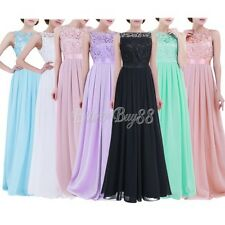 Women Ladies Embroidered Chiffon Bridesmaid Dress Long Evening Prom Gown US 4-16