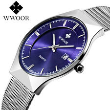 WWOOR Date Ultrathin Steel Band Men Business Quartz Wrist Watch Bangle Gift Box