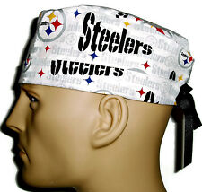 Men's Adjustable, Fold-Up Surgical Scrub Hat in Pittsburgh Steelers White
