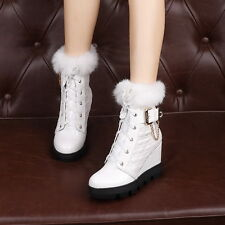 New Womens high Wedge Heel Platform Rock Punk Fur Trim Ankle Leather Chain Boot