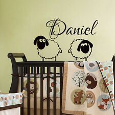 Personalized Name Wall Decals Sheep Decal Vinyl Stickers Boy Baby Nursery MN568