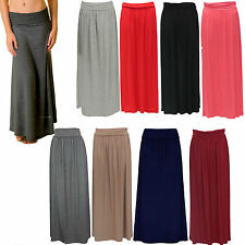 New Ladies Plain Fold Over Long Casual Stretchable Womens Maxi Flayered Skirt AF