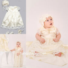 New Baby Robe Baptism Outfits Dresses Lace Infant Christening Gowns Bonnet 0-24M