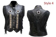 Women NEW Cow Leather Western Vest with Fringes beads and bones XS-5XL