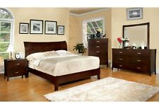 Midland Contemporary Brown Cherry Finish Bedroom Set Bed Dresser Mirror NightSta