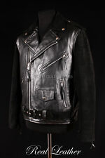 Mens BRANDO Black Suede & Cowhide Real Leather Motorcycle Biker Motorbike Jacket