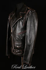 Men BRANDO LIVE TO RIDE EAGLE Black Distressed Cowhide Leather Motorcycle Jacket