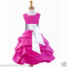 FUCHSIA CHRISTMAS PAGEANT QUINCEANERA FLOWER GIRL DRESS 2 3 4 5T 6 8 10 12 14 16