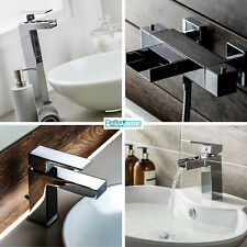 Basin and Bath Taps ; Solid Brass & Chrome ; Extended Waterfall Mixer Modern