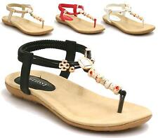 LADIES GLADIATOR SANDALS NEW WOMENS FLAT STRAPPY BEADS SUMMER BEACH SHOES SIZE 3