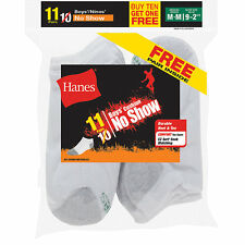 Hanes EZ-Sort Boys' No-Show Socks 11-Pack (Includes 1 Free Bonus Pair) NWT 42...
