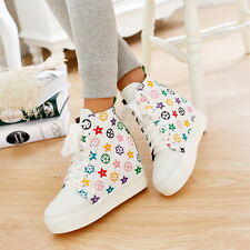 Womens High Top Boots Trendy High Wedge Heels Sneaker Lace up Shoes Sport Casaul