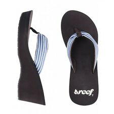 Ladies Reef Golden Wedge Flip Flops, Brown/Blue Striped, RRP £34.99, NEW