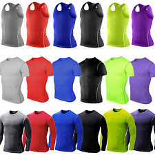 Mens Compression Under Shirt Base Layer Tight Tops Sports T-Shirts Athletic Vest