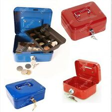 Security Safe Petty Cash Box Money Bank Deposit Steel Tin With 2 Keys & Tray UK
