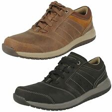 MENS CLARKS LACE UP BLACK TAN LEATHER SMART CASUAL SHOES TRAINERS RYLEY STREET
