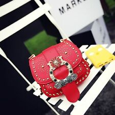 Fashion Women New Style PU Leather Girls' Rivet  Diamond Strapping Shoulder Bags