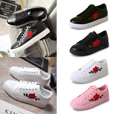 AU 2.5-5.5 Women Embroidered Floral Trainers Sneakers Lace Up Flat Walking Shoes
