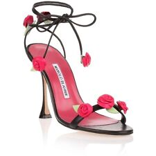 $1295 New Manolo Blahnik XAFIORE Sandals Black Pink Rose Strappy Shoes 40.5 41