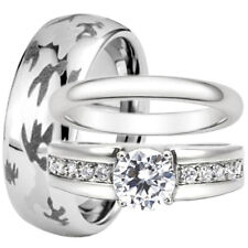 Tungsten Stainless Steel CZ Engagement Wedding Ring Set Camouflage Camo 8mm Band