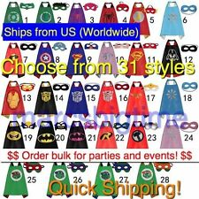 Superhero Cape Mask Superman Batman Spiderman Supergirl Batgirl Hulk for kids