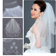 2T Embroidery Pearls Beaded Satin Edge Bridal Wedding Elbow Length Veil + Comb