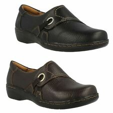 LADIES CLARKS LEATHER SLIP ON CASUAL LIGHTWEIGHT TROUSER WORK SHOES EVIANNA BOA