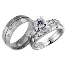 His Hers Titanium Band Sterling Silver Round CZ Wedding Bridal Ring Set