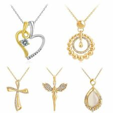 Women Charm Gold Plated Crystal Rhinestone Heart Hollow Cross Pendant Necklace