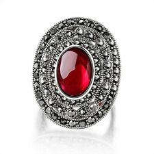 Retro Red Crystal Marcasite Cocktail Ring 18k White Gold GP Fashion Gift R1024