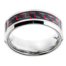 8mm Tungsten Band Comfort Fit Red Carbon Fiber Men's Wedding Ring