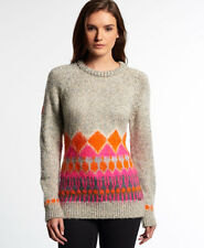 New Womens Superdry Ombre Brushed Fairisle Knit Oat