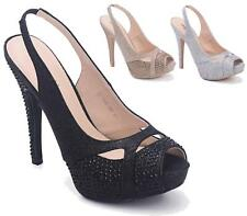 LADIES HIGH HEEL STILETTO SANDALS SLINGBACK ANKLE STRAP DIAMANTE PEEP TOE SHOES