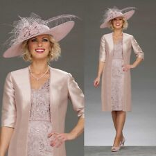New Mother Of The Bride Dresses Custom Lace Formal Gown Knee-Length Pink Custom