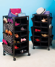 Shoe Storage Solutions Rolling Cart Rack Footwear Organizer Portable Black Blue