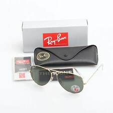 RAY-BAN MEN'S LARGE POLARIZED AVIATOR SUNGLASSES G-15 LENS RB3025 001/58 GOLD