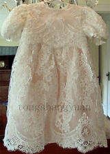 Baby Baptism Dresses Outfits Lace Applique Infant White Ivory Christening Gowns
