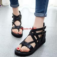 Womens lady Back Zippers Roman Strappy Buckle Platform Wedges Punk Sandals
