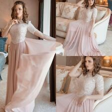 Elegant Pink Evening Dresses Chiffon Formal Party Bridesmaid Gowns Crystal Long