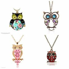 Vintage Owl Pendant Long Chain Necklace 5 Styles *UK*