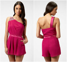 New LIPSY One Shoulder BNWT Embellished Party Club Date Night Playsuit Dress