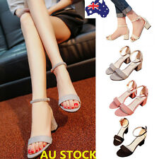 Women Mid Block Heel Peep Toe Chunky Ankle Strap Sandals Party  Platform Shoes