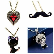 Ladies Children's Pendant Chain Necklace Animal Heart 6 Styles *UK*