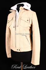 Ladies G-FORCE HOOD Beige Lambskin Leather Womens Cotton Hooded Bomber Jacket